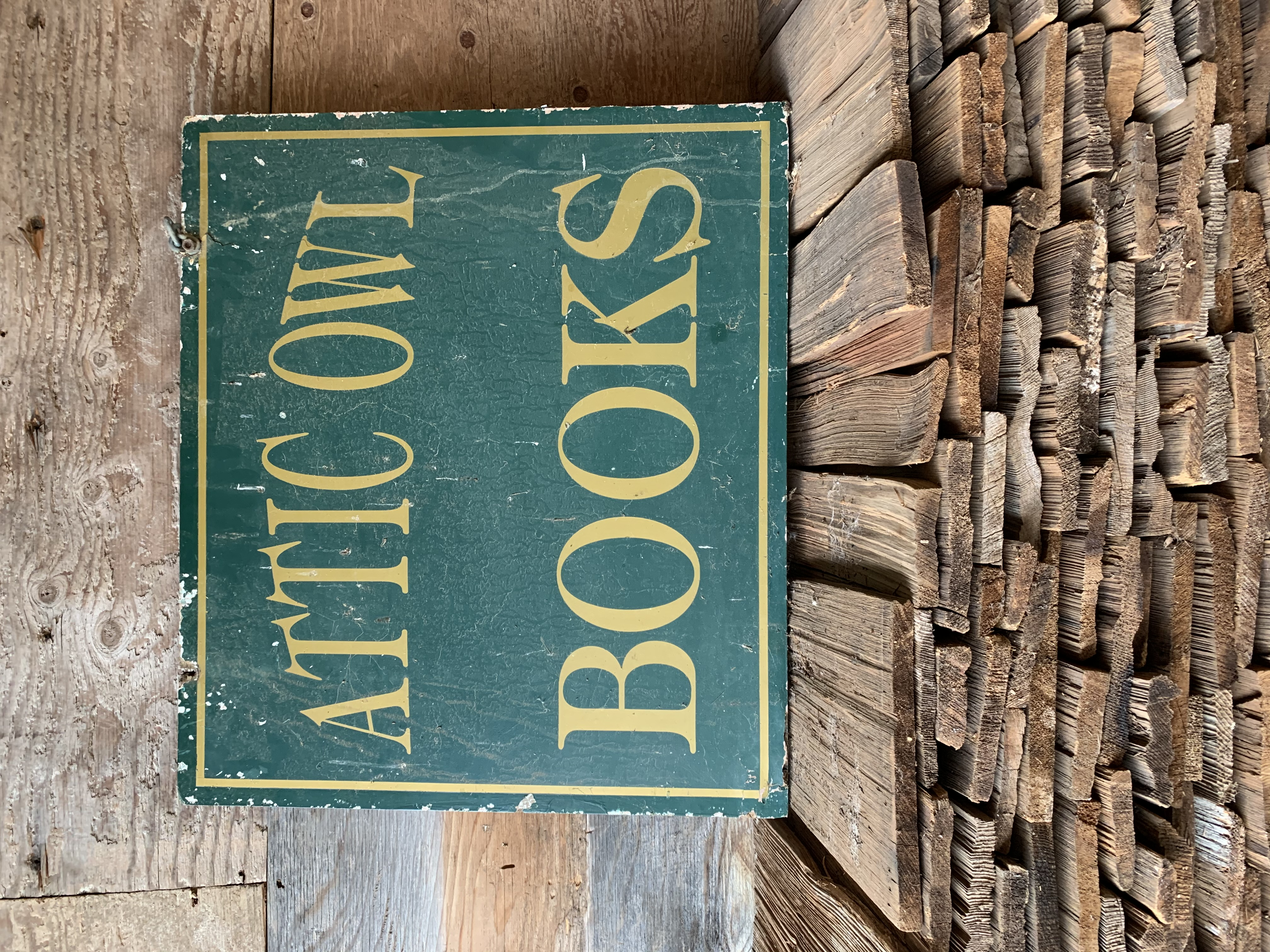 Attic Owl Book Sign - double sided