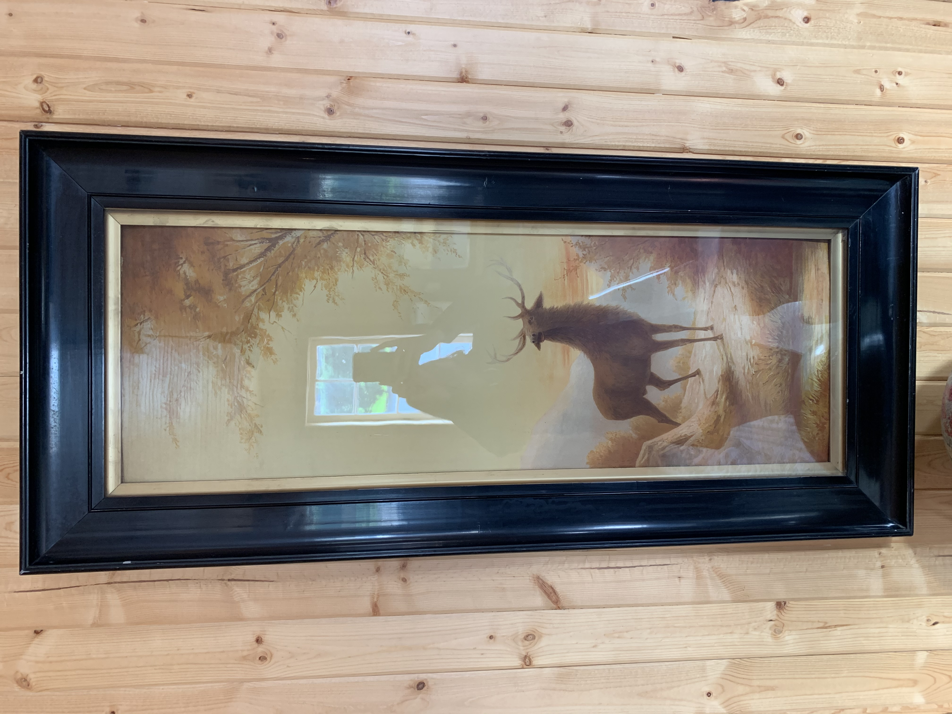 Elk in Dark Wood Framed Set